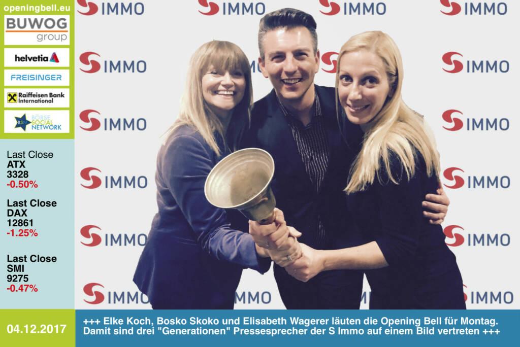 #openingbell am 4.12.: Elke Koch, Bosko Skoko und Elisabeth Wagerer läuten die Opening Bell für Montag. Damit sind drei Generationen Pressesprecher der S Immo auf einem Bild vertreten http://www.simmoag.at http://www.boerse-express.com/simmo https://www.facebook.com/groups/GeldanlageNetwork/ #goboersewien (04.12.2017)