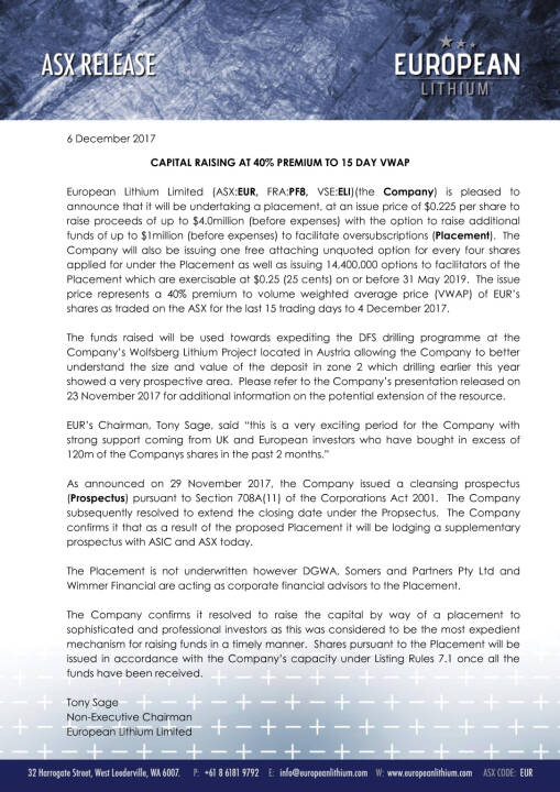 Kapitalerhöhung European Lithium, Seite 1/2, komplettes Dokument unter http://boerse-social.com/static/uploads/file_2410_kapitalerhohung_european_lithium.pdf