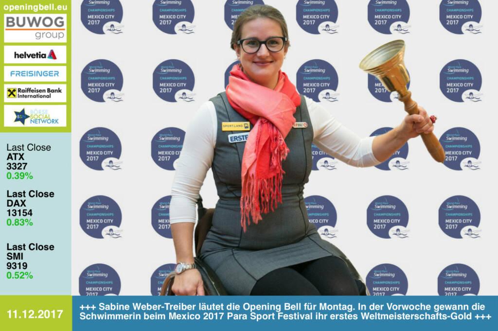 #openingbell am 11.12.: Sabine Weber-Treiber läutet die Opening Bell für Montag. In der Vorwoche gewann die Schwimmerin beim Mexico 2017 Para Sport Festival ihr erstes Weltmeisterschafts-Gold https://www.facebook.com/groups/Sportsblogged/ https://www.facebook.com/webertreiber/ https://www.paralympic.org/mexico-city-2017 (11.12.2017)