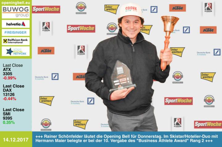 #openingbell am 14.12.: Rainer Schönfelder läutet die Opening Bell für Donnerstag. Im Skistar/Hotelier-Duo mit Hermann Maier belegte er bei der 10. Vergabe des Business Athlete Award Rang 2 - https://www.cooee-alpin.com alle Details, Pressemeldung, Diashow und 29-seitige Sondernummer samt Sport Woche Covergalerie unter http://www.runplugged.com/baa  http://www.ktm.at https://www.xmarkets.db.com www.rosinger-gruppe.de/ https://www.interwetten.com https://www.facebook.com/groups/GeldanlageNetwork/ #goboersewien https://www.facebook.com/groups/Sportsblogged/