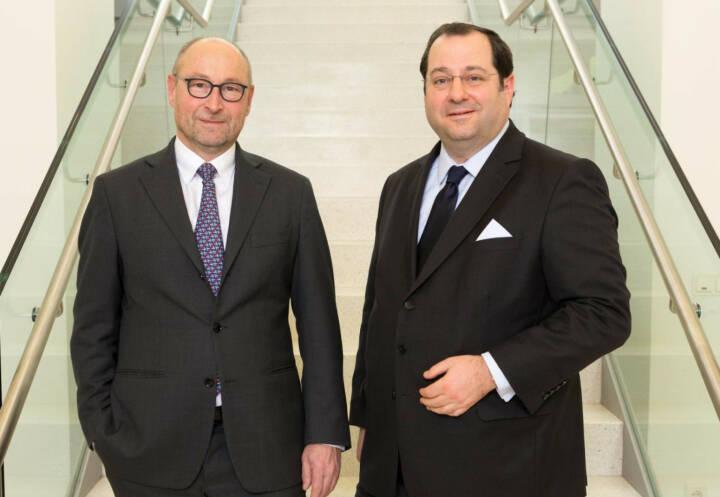 Rolf Buch (li), Vorstandsvorsitzender der Vonovia SE, und Daniel Riedl (CEO Buwog), Bild: Vonovia