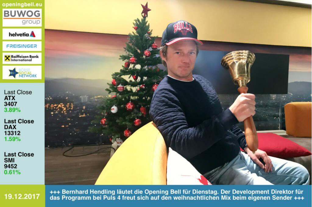 #openingbell am 19.12.: Bernhard Hendling läutet die Opening Bell für Dienstag. Der Development Direktor für das Programm bei Puls 4 freut sich auf den weihnachtlichen Mix beim eigenen Sender https://www.puls4.com/ https://www.facebook.com/groups/GeldanlageNetwork/ #goboersewien  (19.12.2017)