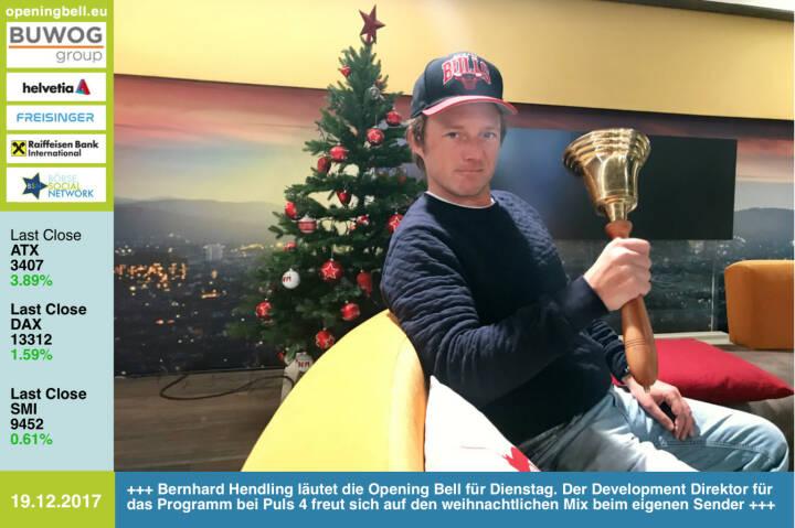 #openingbell am 19.12.: Bernhard Hendling läutet die Opening Bell für Dienstag. Der Development Direktor für das Programm bei Puls 4 freut sich auf den weihnachtlichen Mix beim eigenen Sender https://www.puls4.com/ https://www.facebook.com/groups/GeldanlageNetwork/ #goboersewien