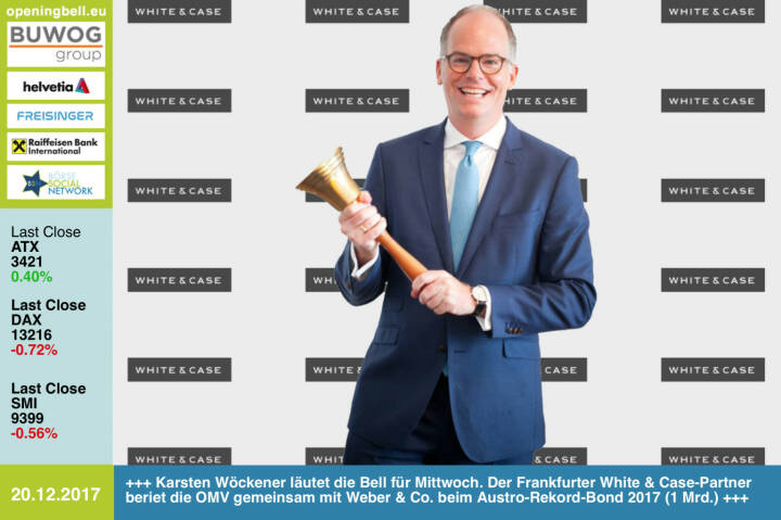 #openingbell am 20.12.: Karsten Wöckener läutet die Opening Bell für Mittwoch. Der Frankfurter White & Case-Partner beriet die OMV gemeinsam mit Weber & Co. beim Austro-Rekord-Bond 2017 (1 Mrd.) http://whitecase.com http://www.weber.co.at/ http://www.omv.com https://www.facebook.com/groups/GeldanlageNetwork/ #goboersewien