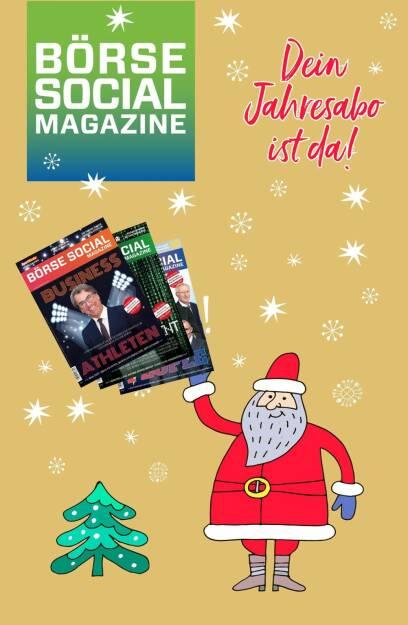 Gilt am 24.12. für alle Abonnenten: Ein 2. Abos unsereres monatlichen 100-Seiters Prints zum Verschenken gibts zu Sonderpreis. office@boerse-social.com, © www.shutterstock.com (24.12.2017)
