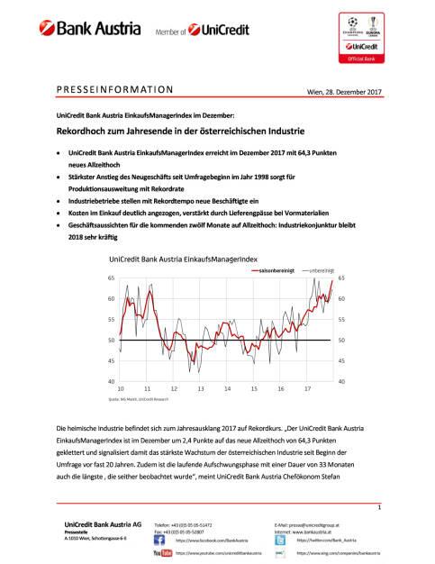 Rekordhoch zum Jahresende in der österreichischen Industrie, Seite 1/4, komplettes Dokument unter http://boerse-social.com/static/uploads/file_2413_rekordhoch_zum_jahresende_in_der_osterreichischen_industrie.pdf (28.12.2017)