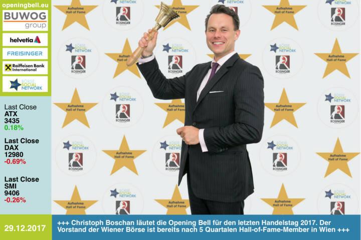 #openingbell am 29.12.:  Christoph Boschan läutet die Opening Bell für den letzten Handelstag 2017. Der Vorstand der Wiener Börse ist bereits nach 5 Quartalen Hall-of-Fame-Member in Wien. Mehr dazu im nächsten http://www.boerse-social.com/magazine  http://www.boerse-social.com/hall-of-fame http://www.wienerborse.at https://www.facebook.com/groups/GeldanlageNetwork/ #goboersewien