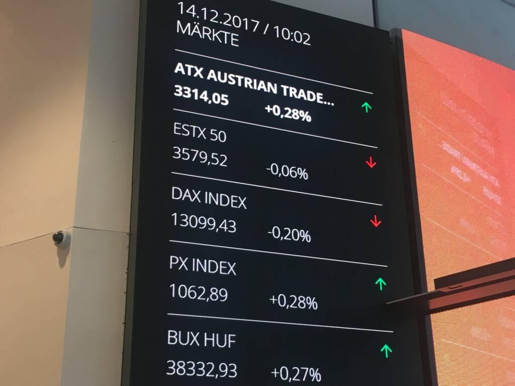 Kurstafel im Erste Group-Headquarter, Kurse, Trading, Index, Indizes, ATX, Bild: beigestellt, © Aussendung (29.12.2017)