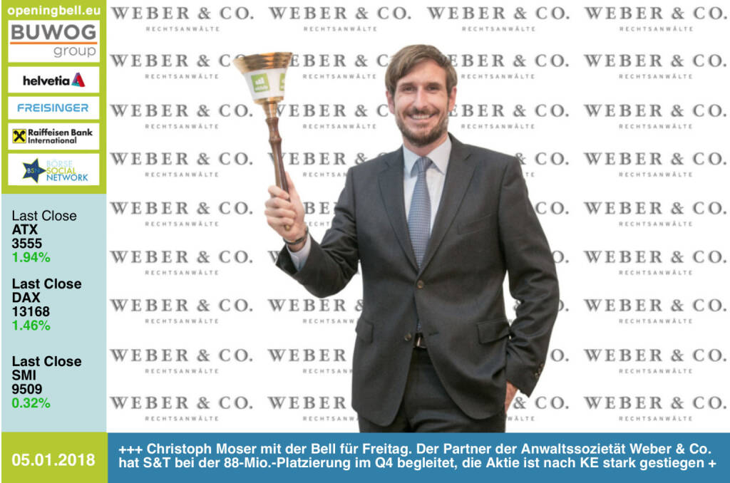 #openingbell am 5.1.: Christoph Moser mit der Opening Bell für Freitag. Der Partner der Anwaltssozietät Weber & Co. hat S&T bei der 88-Mio.-Platzierung im Q4 begleitet, die Aktie ist nach KE stark gestiegen, sieht man auch nicht häufig http://boerse-social.com/launch/aktie/sant http://www.weber.co.at https://www.facebook.com/groups/GeldanlageNetwork/ #goboersewien  (05.01.2018)