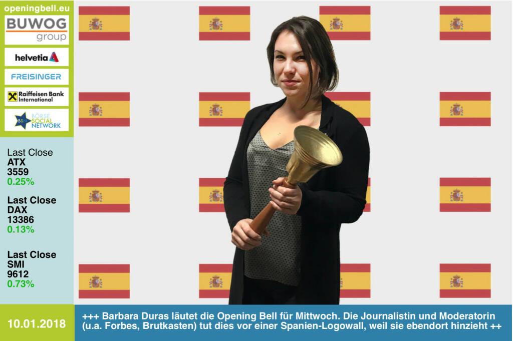 #openingbell am 10.1.: Barbara Duras läutet die Opening Bell für Mittwoch. Die Journalistin und Moderatorin (u.a. Ex-Forbes, -Brutkasten) tut dies vor einer Spanien-Logowall, weil sie ebendort hinzieht https://www.facebook.com/groups/GeldanlageNetwork/ #goboersewien   (10.01.2018)
