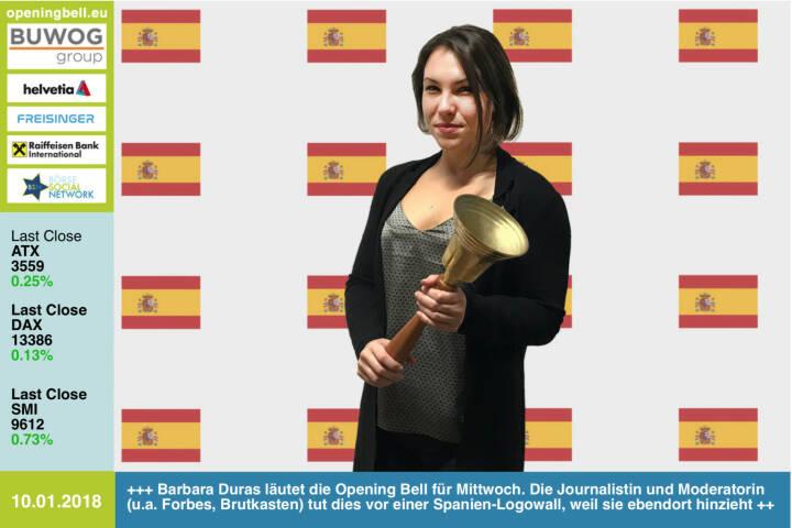 #openingbell am 10.1.: Barbara Duras läutet die Opening Bell für Mittwoch. Die Journalistin und Moderatorin (u.a. Ex-Forbes, -Brutkasten) tut dies vor einer Spanien-Logowall, weil sie ebendort hinzieht https://www.facebook.com/groups/GeldanlageNetwork/ #goboersewien
