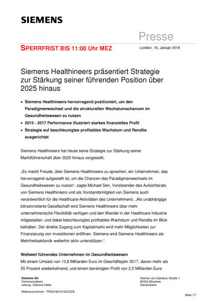 Siemens Healthineers plant IPO, Seite 1/7, komplettes Dokument unter http://boerse-social.com/static/uploads/file_2417_siemens_healthineers_plant_ipo.pdf (16.01.2018)