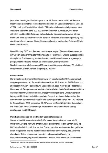 Siemens Healthineers plant IPO, Seite 2/7, komplettes Dokument unter http://boerse-social.com/static/uploads/file_2417_siemens_healthineers_plant_ipo.pdf (16.01.2018)