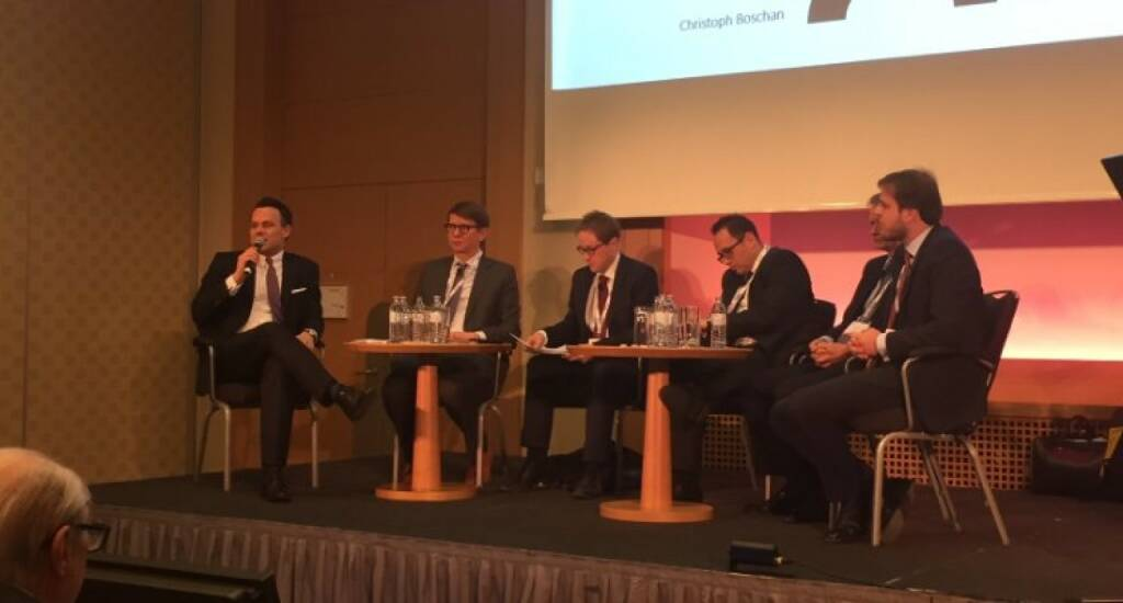Wiener Börse-Chef Christoph Boschan bei der Euromoney Conference zum Thema IPOs, im Panel mit Michael Cieciorsky (Deputy CEO der Warsaw Stock Exchange), Barna Erdély (Chief FInancial Officer und Deputy Chief Executive Officer - Waberer's International), Julian Mayo (Co-Chief Investment Officer, Charlemagne Capital) Tim Umberger (Portfolio Advisor and Deuty Head of Eastern Europe - East Capital) (16.01.2018)