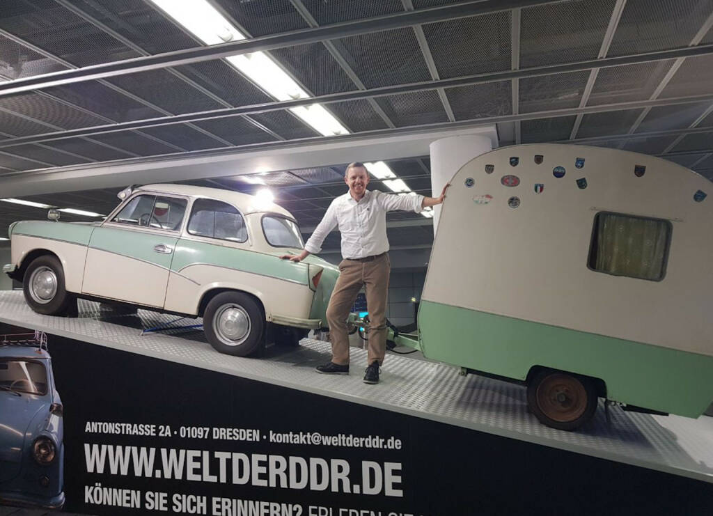 DDR Trabi - Christian-Hendrik Knappe am Börsentag in Dresden  (21.01.2018)