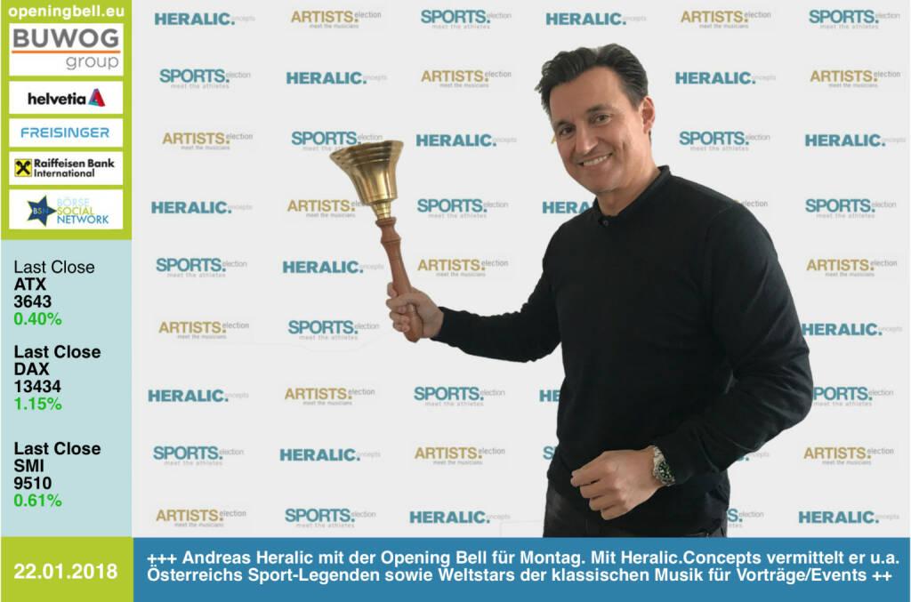 #openingbell am 22.1.: Andreas Heralic mit der Opening Bell für Montag. Mit Heralic.Concepts vermittelt er u.a. Österreichs Sport-Legenden sowie Weltstars der klassischen Musik  für Vorträge/Events. Rund um Business Athletes, vgl. http://www.runplugged.com/baa, wird eine Kooperation mit dem Börse Social Network entstehen https://www.heralic.at/ https://www.facebook.com/groups/Sportsblogged #runpluggedlaufstark https://www.facebook.com/groups/GeldanlageNetwork/ #goboersewien   (22.01.2018)