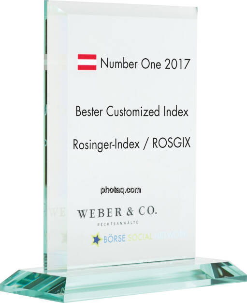Number One Awards 2017 - Bester Customized Index - Rosinger-Index / ROSGIX, © photaq (22.01.2018)