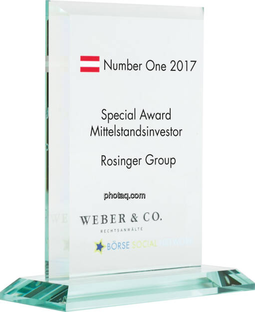Number One Awards 2017 - Special Award Mittelstandsinvestor - Rosinger Group, © photaq (22.01.2018)