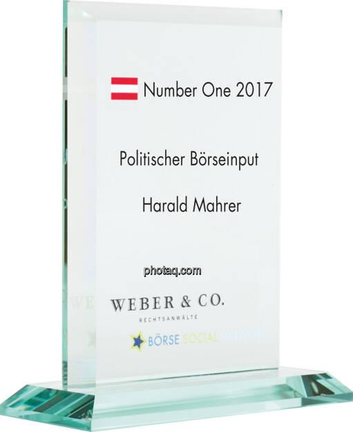 Number One Awards 2017 - Politischer Böseinput - Harald Mahrer, © photaq (22.01.2018)