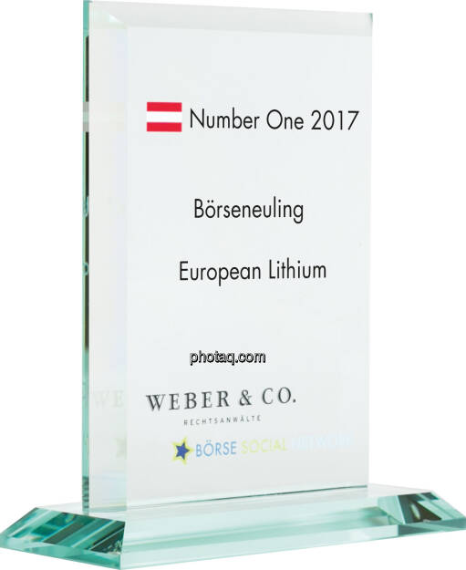 Number One Awards 2017 - Börseneuling - European Lithium, © photaq (22.01.2018)