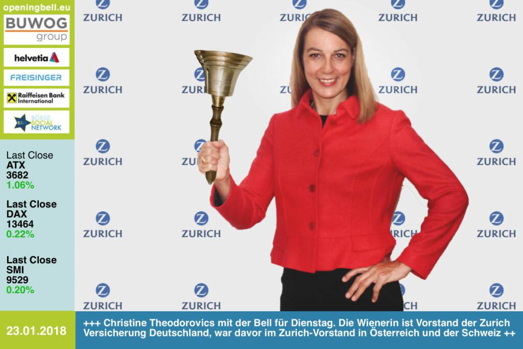 #openingbell am 23.1.: Christine Theodorovics läutet die Opening Bell für Dienstag. Die Wienerin ist Vorstand der Zurich Versicherung Deutschland,  war davor in der Geschäftsleitung Schweiz und im Vorstand Österreich tätig http://www.zurich.de https://www.facebook.com/groups/GeldanlageNetwork/ #goboersewien  (23.01.2018)