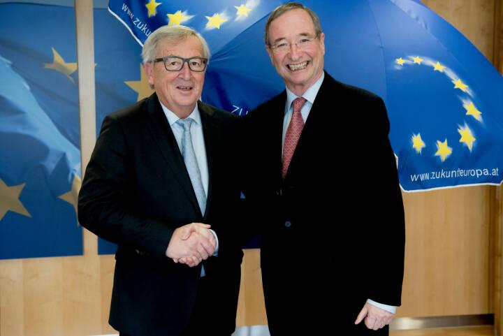 Wirtschaftskammer Österreich: Starkes Unternehmertum ist die Basis für eine erfolgreiche Zukunft der EU, Jean-Claude Juncker, Präsident der Europäischen Kommission, und Eurochambers-Präsident Christoph Leitl; Fotocredit: European Commission / Etienne Ansotte