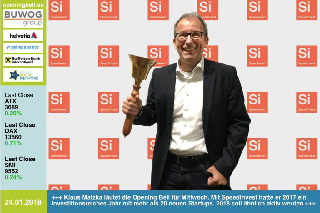 #openingbell am 24.1.: Klaus Matzka läutet die Opening Bell für Mittwoch. Mit Speedinvest hatte er 2017 ein investitionsreiches Jahr mit mehr als 20 neuen Startups. 2018 soll ähnlich aktiv werden http://speedinvest.com https://www.facebook.com/groups/GeldanlageNetwork/ #goboersewien  (24.01.2018)