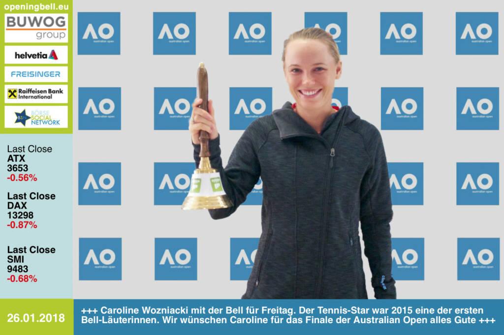 #openingbell am 26.1.: Caroline Wozniacki mit der Opening Bell für Freitag. Der Tennis-Star aus Dänemark war 2015 eine der ersten Bell-Läuterinnen. Wir wünschen Caroline am Weekend für das Finale bei den Australian Open alles Gute https://twitter.com/CaroWozniacki https://ausopen.com https://www.facebook.com/groups/Sportsblogged  (26.01.2018)