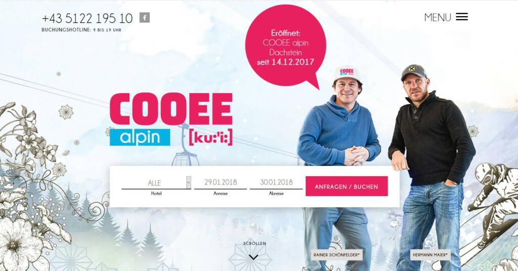 COOEE alpin Hotels von Rainer Schönfelder und Hermann Maier setzen auf die Kompetenz von websLINE und das ABM V5 Anfrage- & Buchungssystem; Fotocredit: COOEE alpin, © Aussender (29.01.2018)