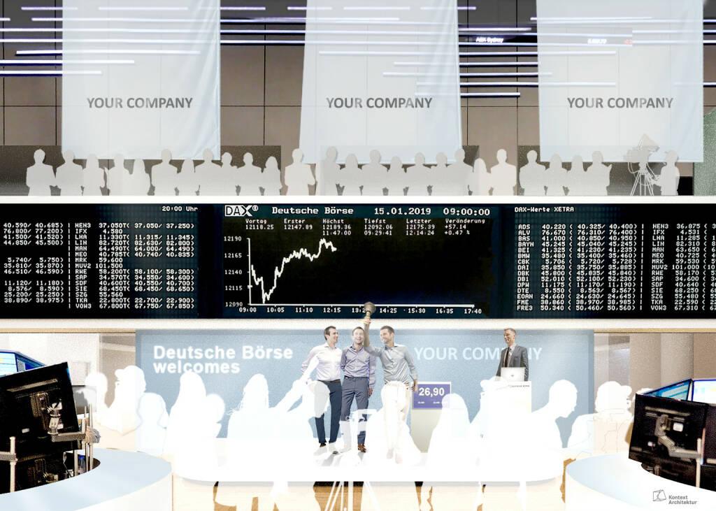 Neuer IPO-Bereich der Deutschen Börse, Opening Bell, Marktdaten, Börse-Screen, Credit: Deutsche Börse AG (30.01.2018)