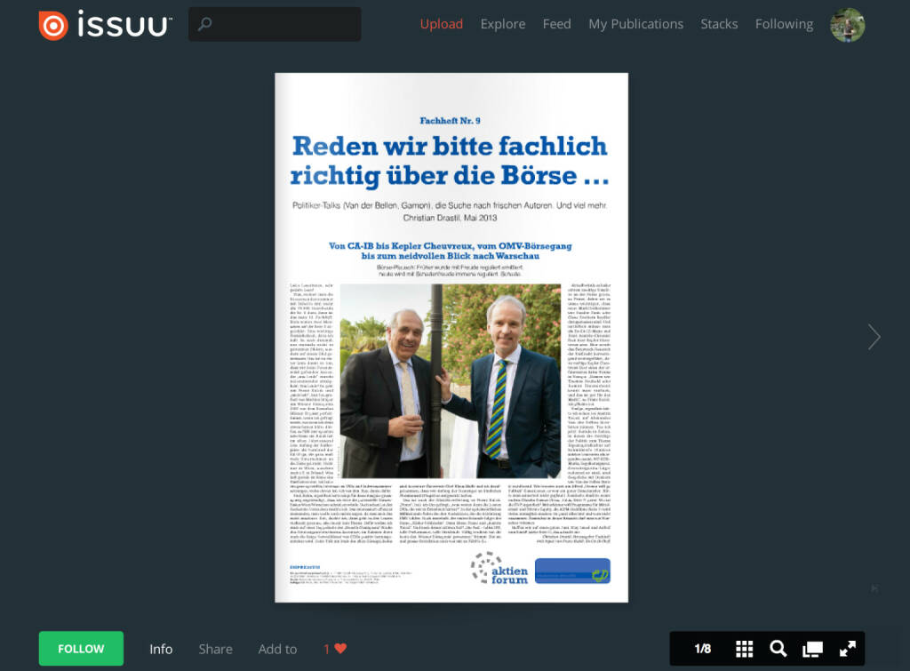 Das Cover mit Franz Kubik und Inputs zu Kepler Cheuvreux, CB Seydler, Baader Bank, Warschau & Co.  (02.06.2013)