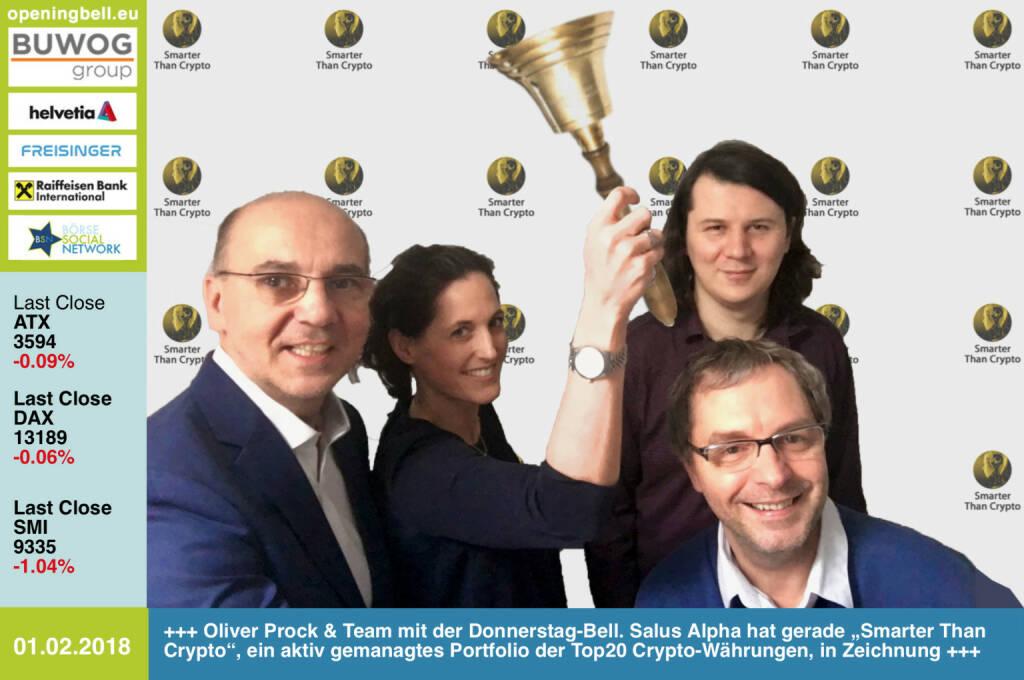"""#openingbell am 1.2.: Oliver Prock und sein Team mit der Opening Bell für Donnerstag. Salus Alpha hat gerade """"Smarter Than Crypto"""", ein aktiv gemanagtes Portfolio der Top20 Crypto-Währungen, in Zeichnung https://www.smarterthancrypto.com/pre-sale_nl1.html https://www.facebook.com/groups/GeldanlageNetwork/ #goboersewien  (01.02.2018)"""