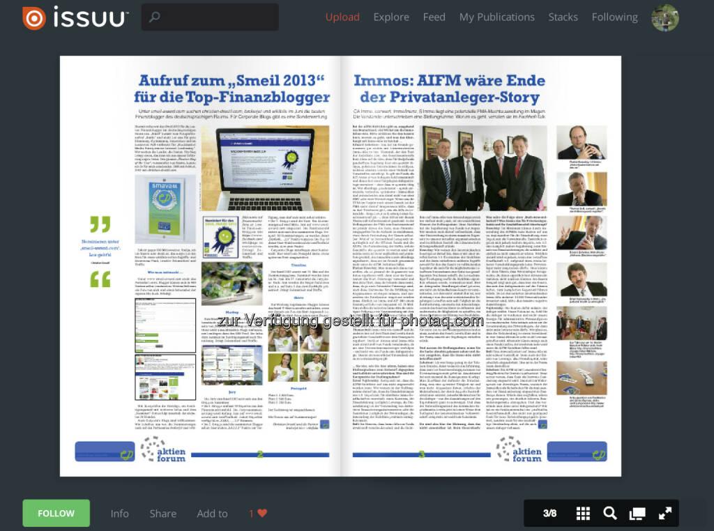Seiten 2/3: Der Aufruf zu http://www.smeil-award.com bzw. die Immo/AIFM-Story unter http://www.christian-drastil.com/2013/05/22/aifm_1 (02.06.2013)