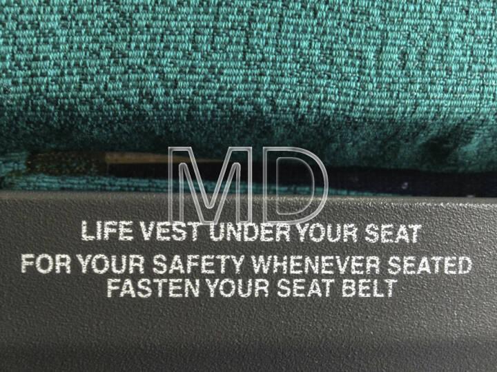 Flugzeugsitz, Life vest, fasten seatbelt