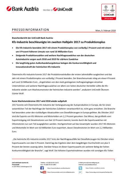 Kfz-Industrie beschleunigte im zweiten Halbjahr 2017 zu Produktionsplus, Seite 1/3, komplettes Dokument unter http://boerse-social.com/static/uploads/file_2419_kfz-industrie_beschleunigte_im_zweiten_halbjahr_2017_zu_produktionsplus.pdf (09.02.2018)