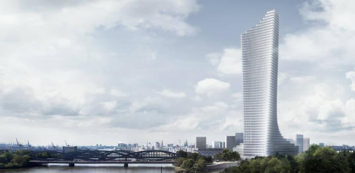 Signa baut in Hamburg das Jahrhundertprojekt  Elbtower, das Design von David Chipperfield Architects überzeugt eine Jury aus Architekten, Stadtplanern und Immobilienprofis. Das spektakuläre Hochhaus, dessen Fertigstellung für Mitte 2025 geplant ist, wird mit 233,3 Metern zum höchsten Gebäude der Hansestadt, Bildquelle: signa.at