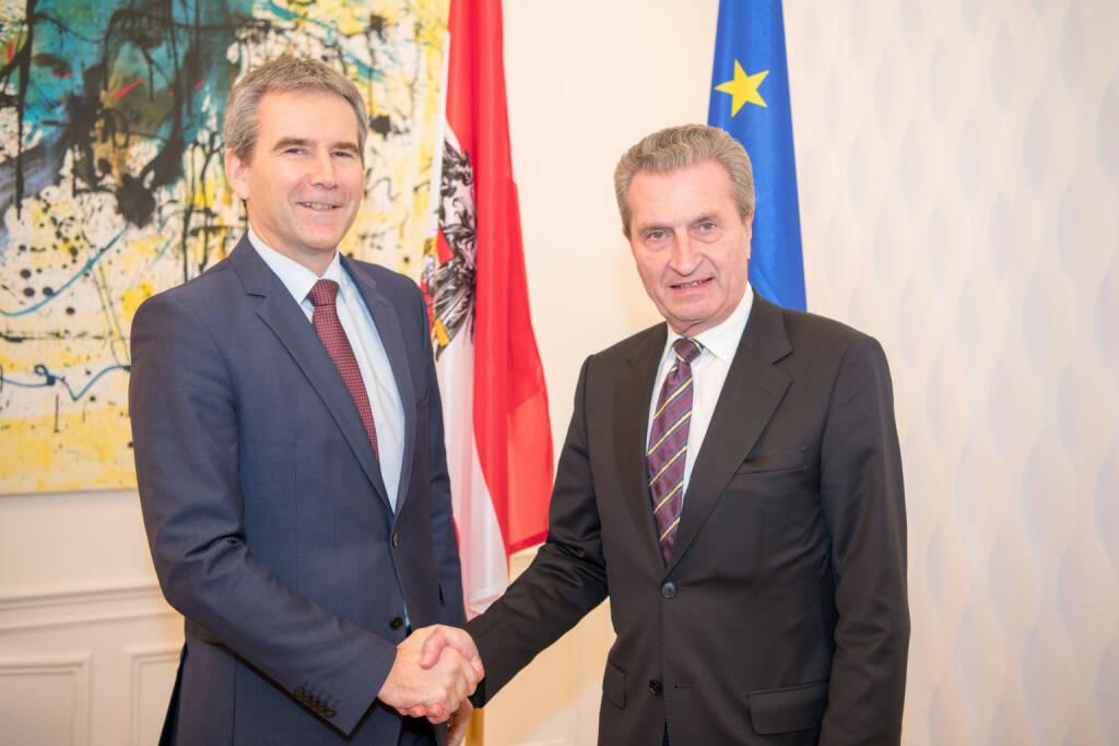 Im Arbeitsgespräch mit EU-Kommissar Günther Oettinger verstärkt Finanzminister Löger die Position Österreichs, keiner pauschalen Erhöhung des EU-Beitrags zuzustimmen. Fotocredit:BMF/Wilke, © Aussender (13.02.2018)