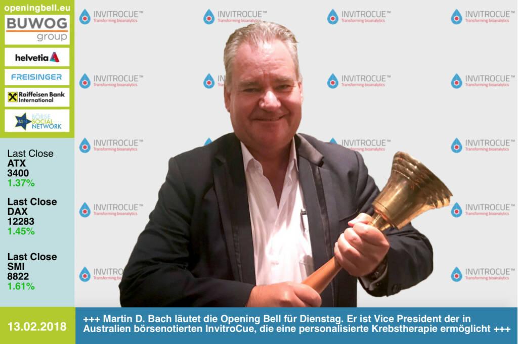 #openingbell am 13.2.: Martin D. Bach läutet die Opening Bell für Dienstag. Er ist Vice President der in Australien börsenotierten InvitroCue, die eine personalisierte Krebstherapie ermöglicht https://invitrocue.com https://www.facebook.com/groups/GeldanlageNetwork/ #goboersewien  (13.02.2018)