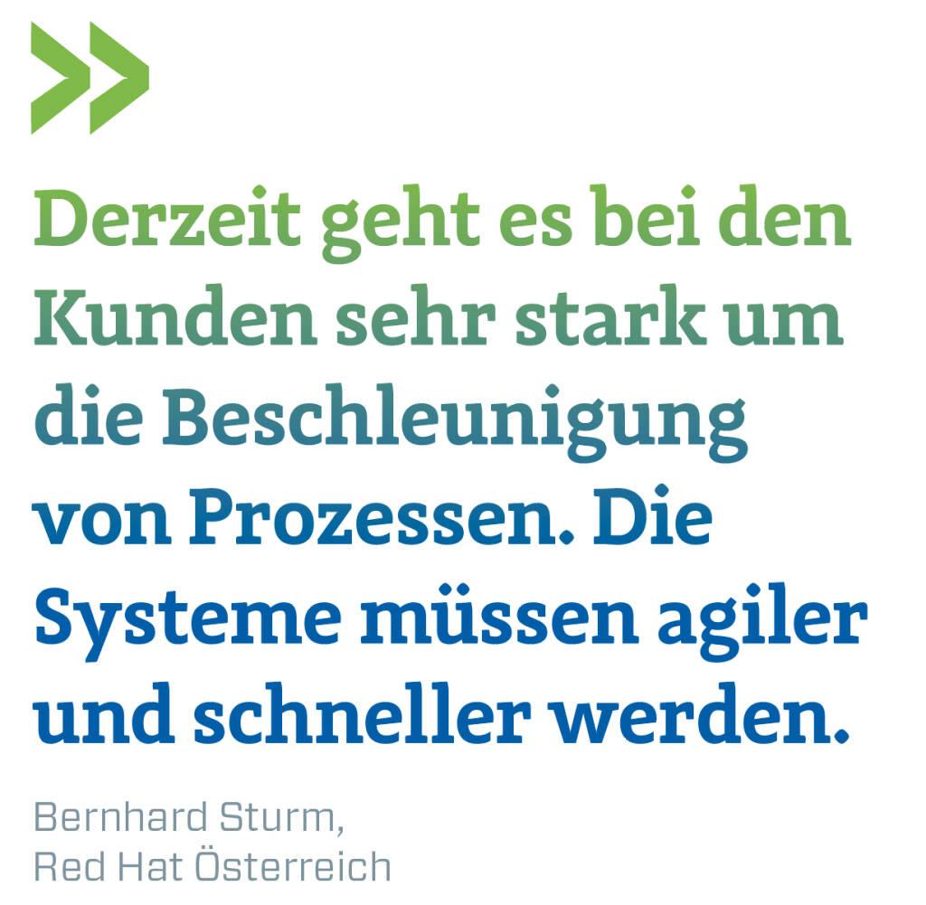 Derzeit geht es bei den Kunden sehr stark um die Beschleunigung von Prozessen. Die Systeme müssen agiler und schneller werden. Bernhard Sturm, Red Hat Österreich (13.02.2018)