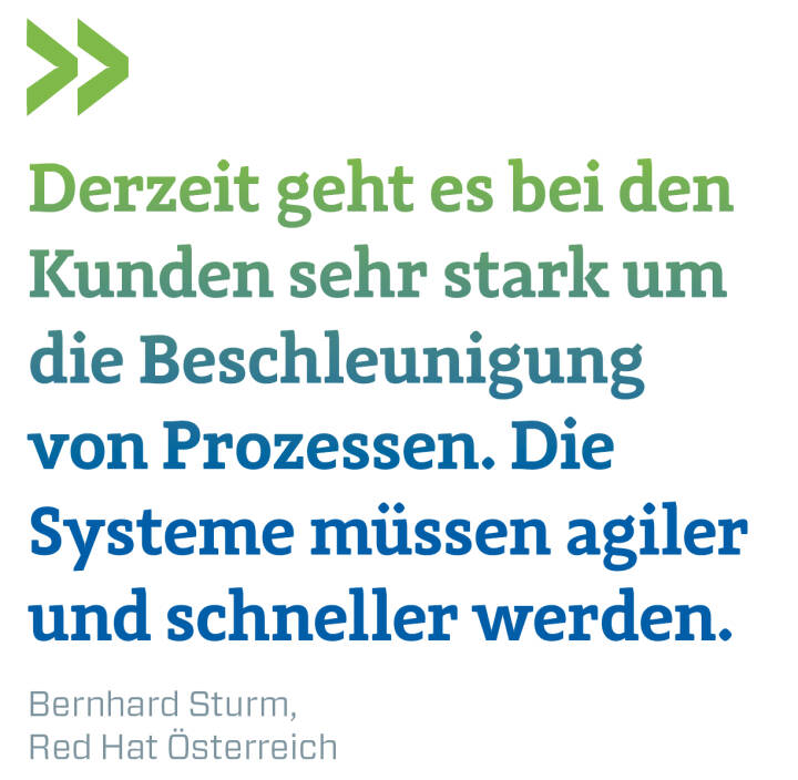 Derzeit geht es bei den Kunden sehr stark um die Beschleunigung von Prozessen. Die Systeme müssen agiler und schneller werden. Bernhard Sturm, Red Hat Österreich