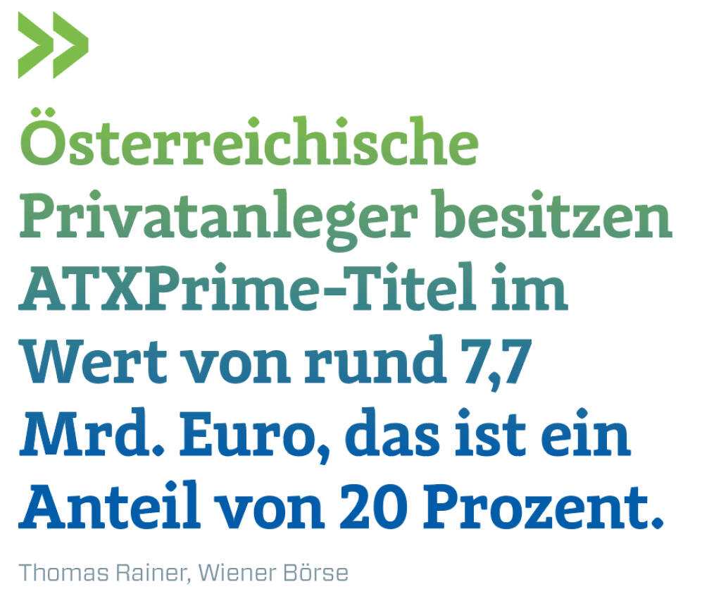 Österreichische Privatanleger besitzen ATXPrime-Titel im Wert von rund 7,7 Mrd. Euro, das ist ein Anteil von 20 Prozent.  Thomas Rainer, Wiener Börse (13.02.2018)