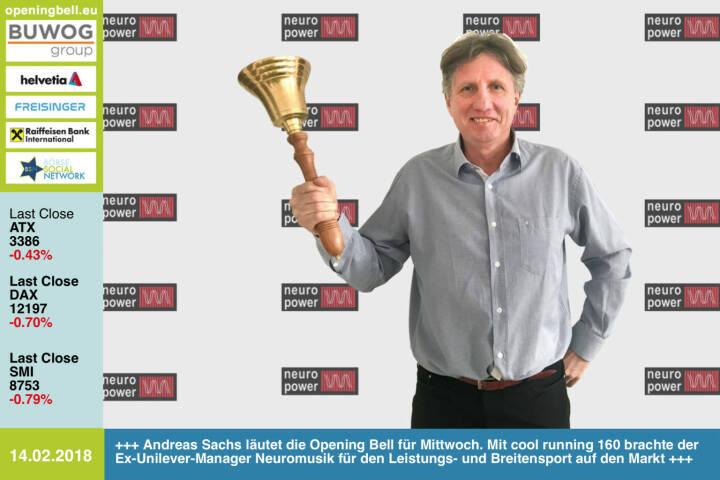 #openingbell am 14.2.: Andreas Sachs läutet die Opening Bell für Mittwoch. Mit cool running 160 brachte der Ex-Unilever-Manager  Neuromusik für den Leistungs- und Breitensport auf den Markt http://www.neuromusic.at https://www.facebook.com/groups/Sportsblogged   https://www.facebook.com/groups/GeldanlageNetwork/  #goboersewien