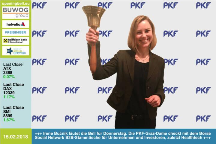 #openingbell am 15.2.: Irene Bučnik läutet die Opening Bell für Donnerstag. Die PKF-Graz-Dame checkt mit dem Börse Social Network B2B-Stammtische für Unternehmen und Investoren, zuletzt Healthtech http://www.pkf-graz.at https://www.facebook.com/groups/GeldanlageNetwork/  #goboersewien