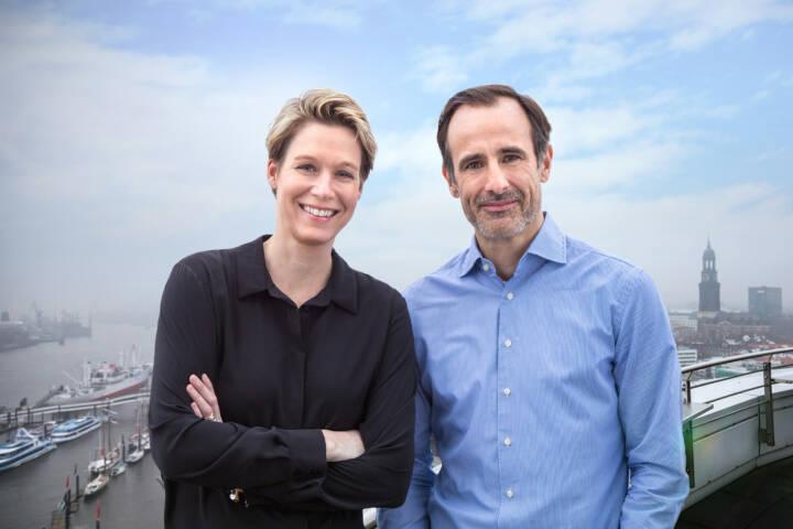 Next Logistics Accelerator: Next Logistics Accelerator ist startklar, Die Führungsspritze des Next Logistics Accelerator in Hamburg: Managing Partner Miriam Kröger und Philipp Schröder, Fotocredit:NLA