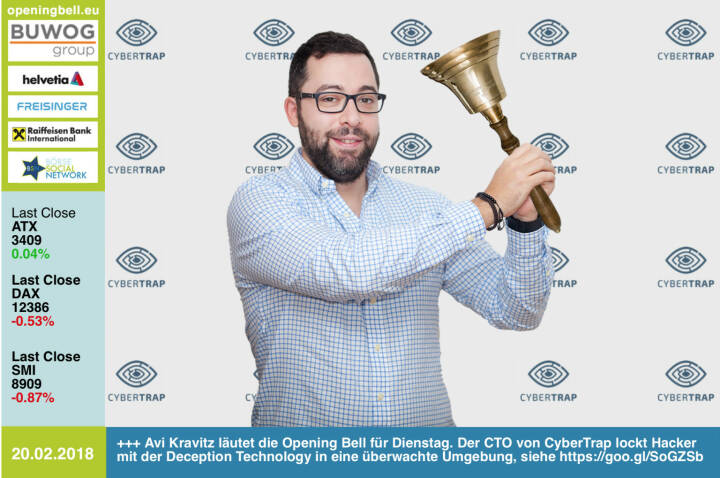 #openingbell am 20.2.: Avi Kravitz läutet die Opening Bell für Dienstag. Der CTO von CyberTrap lockt Hacker mit der Deception Technology in eine überwachte Umgebung, voila: https://goo.gl/SoGZSb http://www.cybertrap.com https://www.facebook.com/groups/GeldanlageNetwork/ #goboersewien