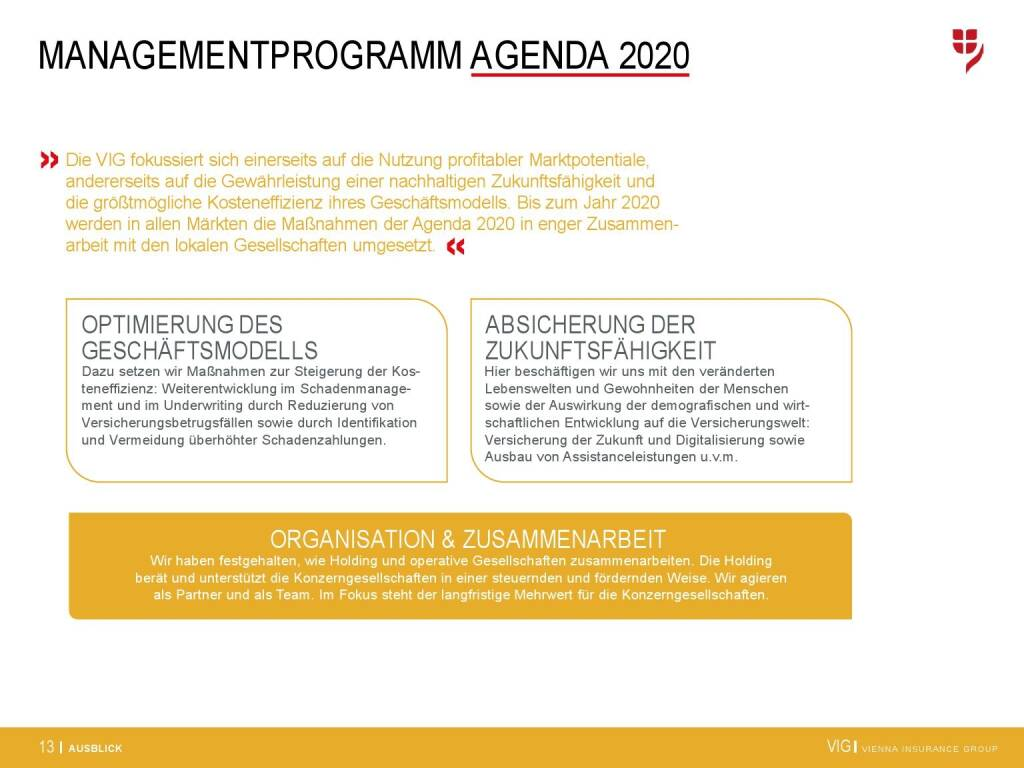 VIG Unternehmenspräsentation - Managementprogramm Agenda 2020 (20.02.2018)