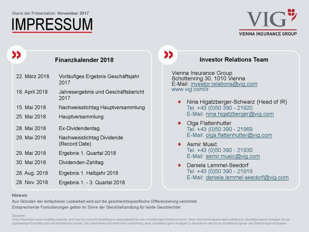 VIG Unternehmenspräsentation - Impressum (20.02.2018)