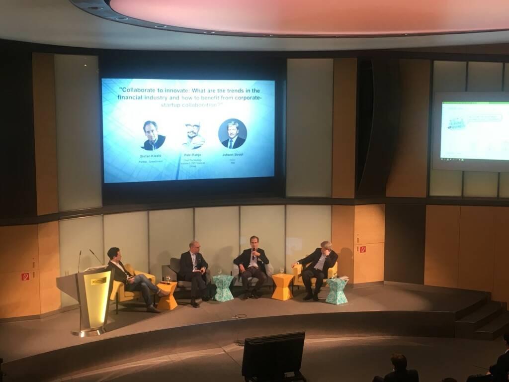 Natürlich sprach man auch über die Zusammenarbeit von Fintechs und Banken: Petri Rahja (OP Financial Group), Stefan Klestil (Speedinvest) und Johann Strobl (RBI) (23.02.2018)
