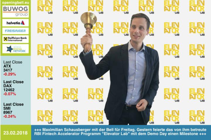 #openingbell am 23.2.: Maximilian Schausberger läutet die Opening Bell für Freitag. Gestern feierte das von ihm betreute RBI Fintech Accelerator Programm Elevator Lab mit dem Demo Day einen Meilenestein, siehe Diashow http://www.photaq.com/page/index/3420 http://www.elevator-lab.com https://www.facebook.com/groups/GeldanlageNetwork/ #goboersewien