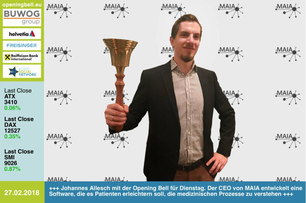 #openingbell am 27.2.: Johannes Allesch läutet die Opening Bell für Dienstag. Der CEO von MAIA entwickelt eine Software, die es Patienten erleichtern soll, die medizinischen Prozesse zu verstehen http://www.maia.tools https://www.facebook.com/groups/GeldanlageNetwork/ #goboersewien  (27.02.2018)